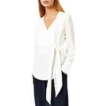 Buy Warehouse Wrap Front Tie Top, Cream Online at johnlewis.com