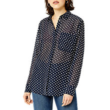 Buy Warehouse Spot Pattern Textured Blouse, Blue Online at johnlewis.com
