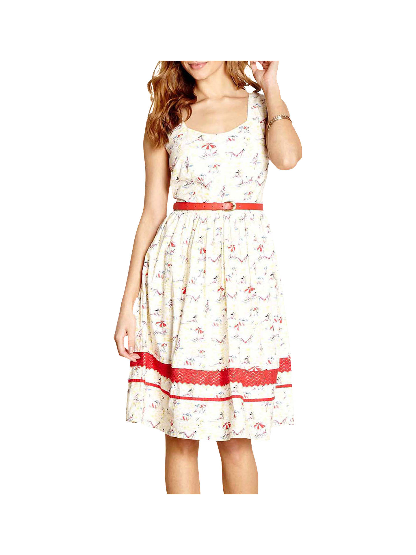 Buy Yumi Beach Print Dress, Ivory, 8 Online at johnlewis.com