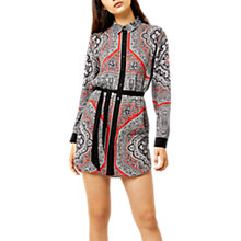 Buy Warehouse Scarf Print Shirt Dress, Red Online at johnlewis.com