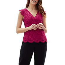 Buy Jaeger Plain Lace Top, Pink Online at johnlewis.com
