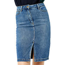 Buy Warehouse Split Front Pencil Skirt, Mid Wash Denim Online at johnlewis.com