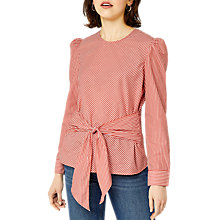 Buy Warehouse Stripe Tie Front Top, Red Online at johnlewis.com