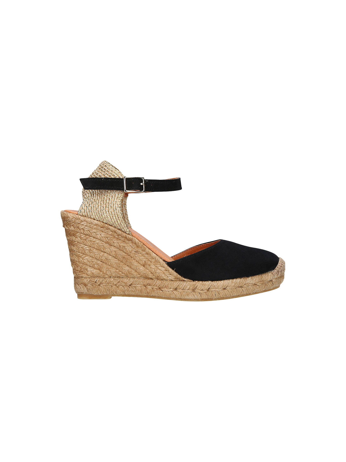 d7860be8a7d Kurt Geiger London Monty Wedge Heel Espadrilles, Black Suede at John ...