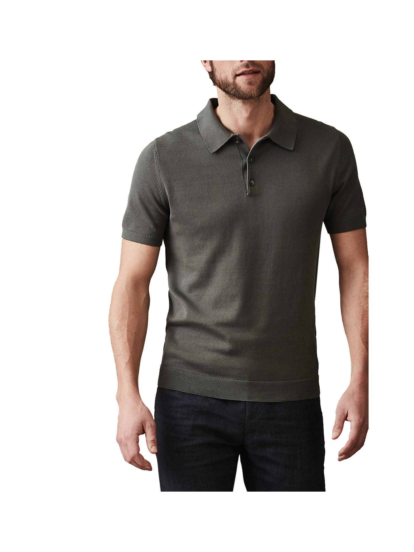 Buy Reiss Varsity Slim Fit Short Sleeve Polo Shirt, Sage, S Online at johnlewis.com