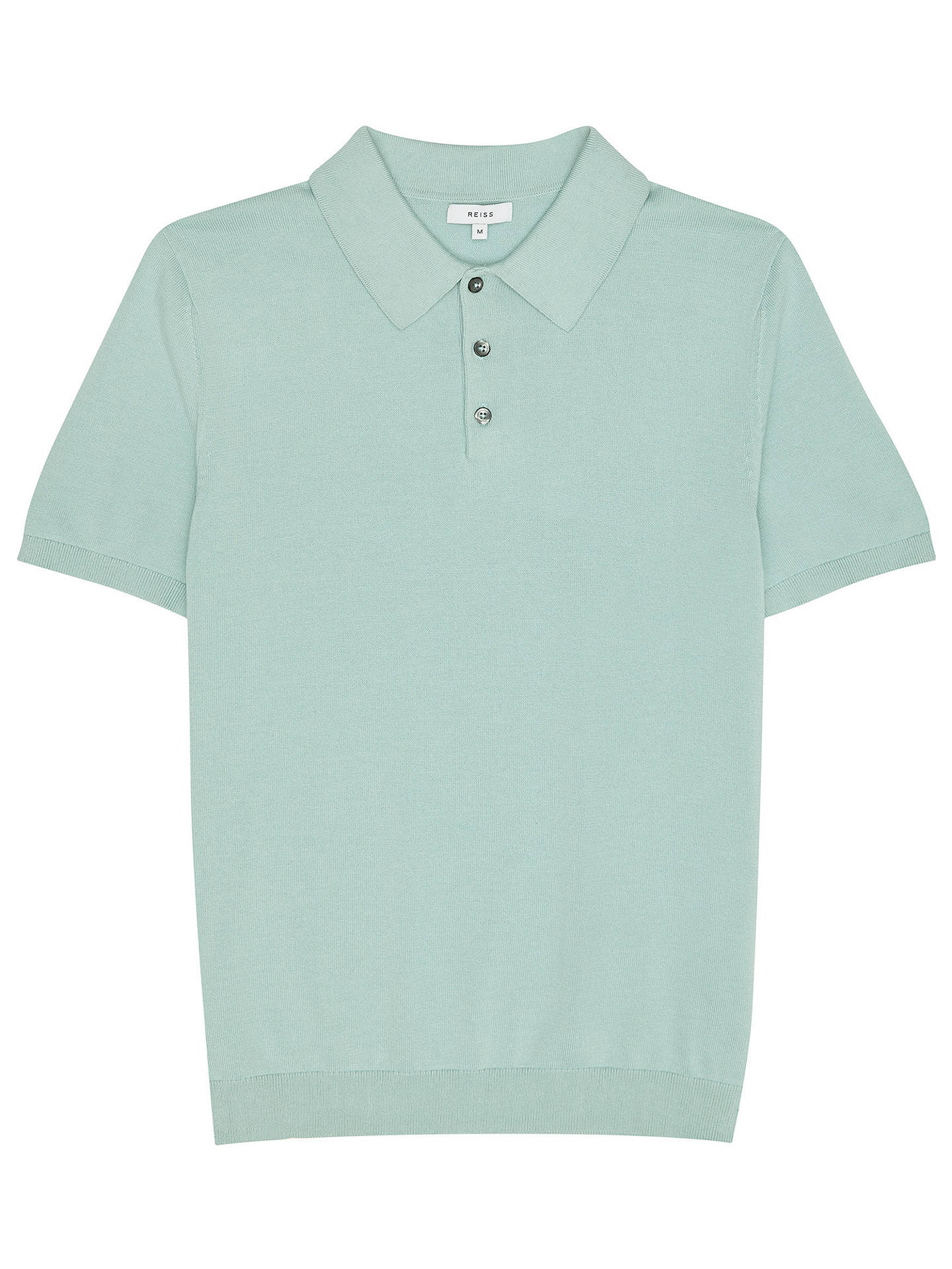 Buy Reiss Varsity Slim Fit Short Sleeve Polo Shirt, Mint, XL Online at johnlewis.com