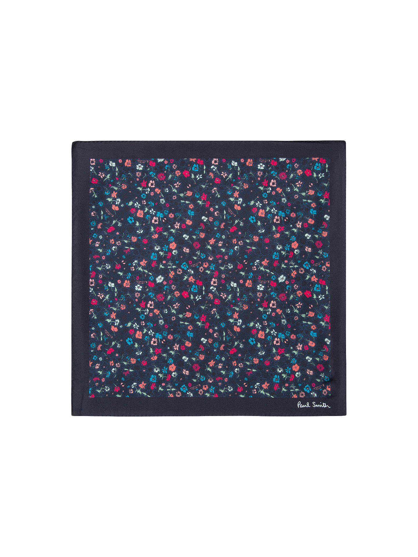 BuyPaul Smith Micro Floral Silk Pocket Square, Navy Online at johnlewis.com