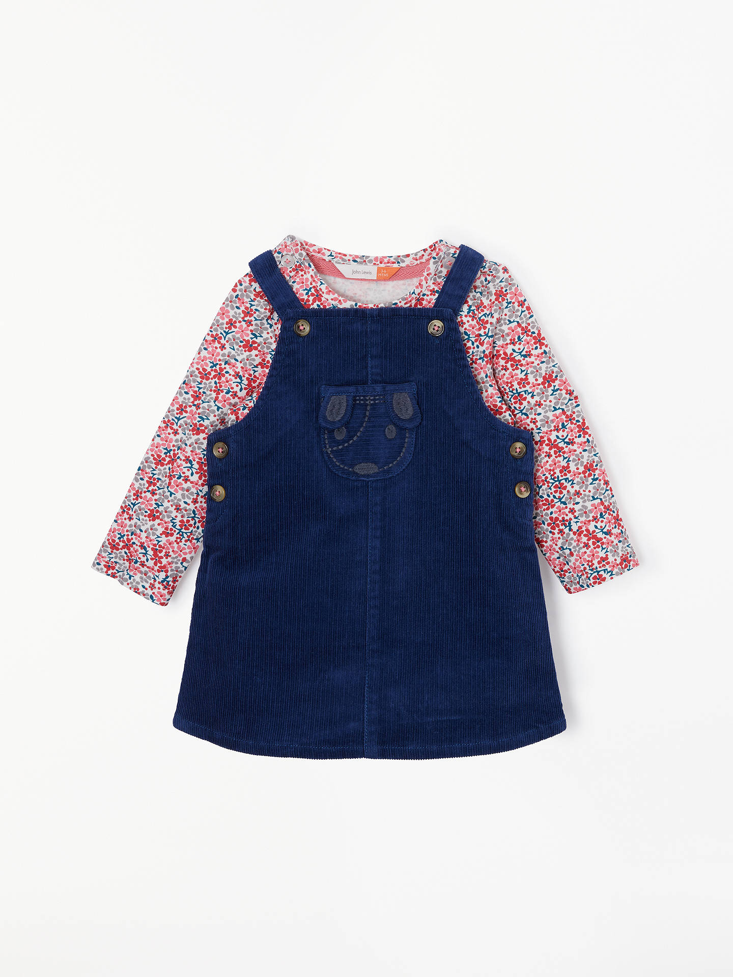 80dd4ef7c Buy John Lewis & Partners Baby Cord Dog Pinafore and Floral T-Shirt Set, ...