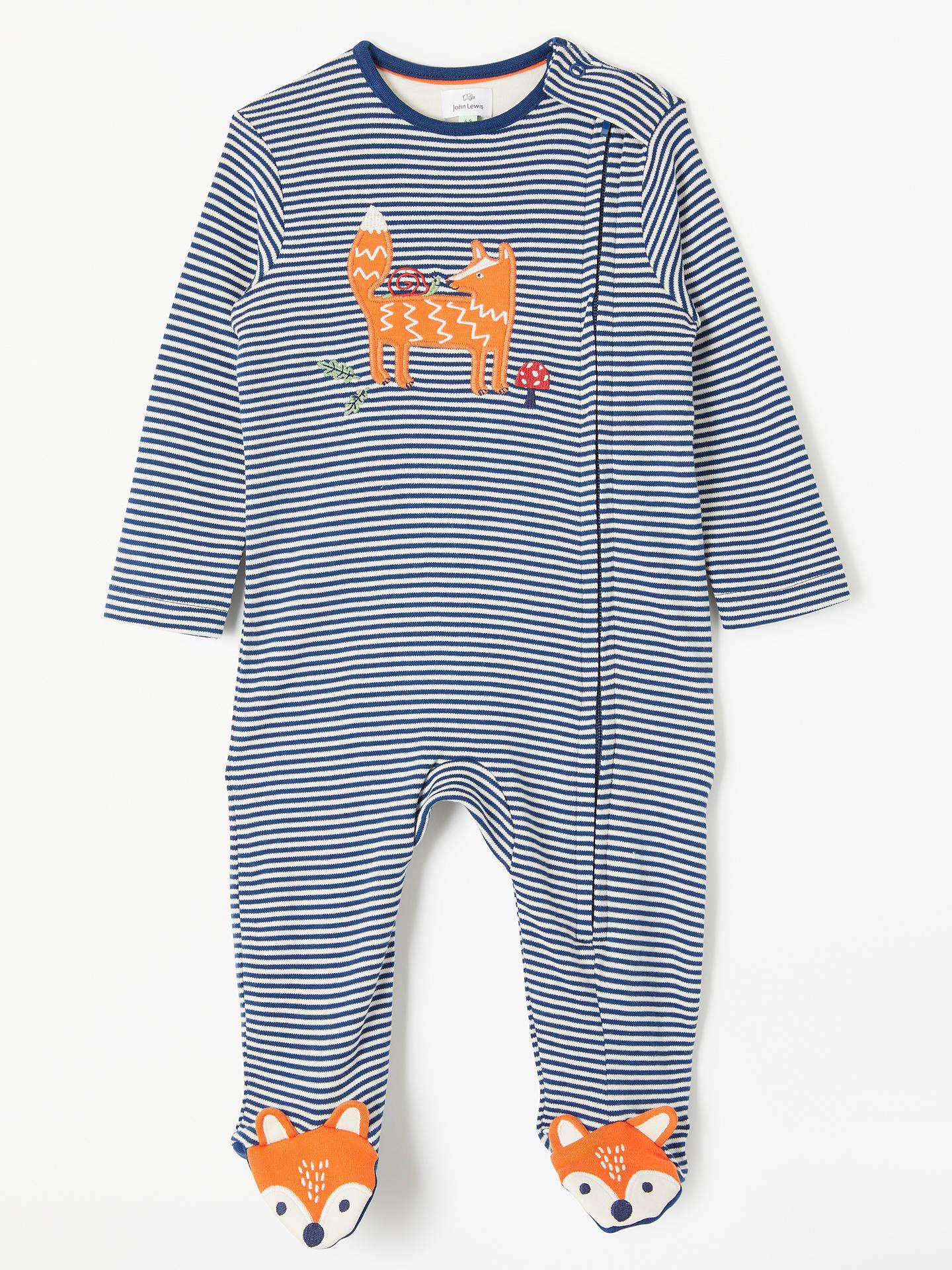 5f70938e06d45 Buy John Lewis   Partners Baby Jersey GOTS Organic Cotton Fox Zip Sleepsuit