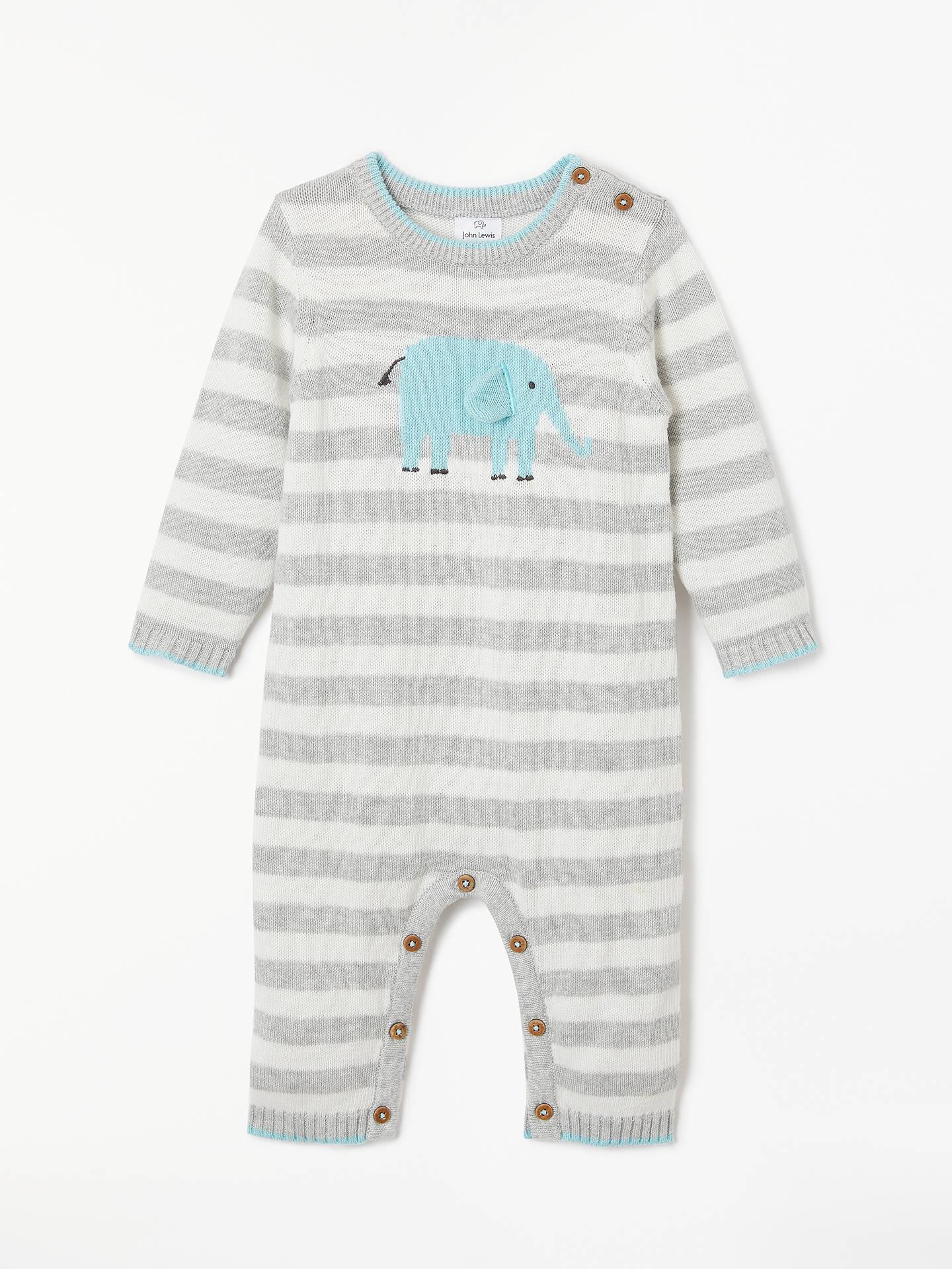 eb5683c6a10f Buy John Lewis   Partners Baby Knitted Stripe Elephant Romper