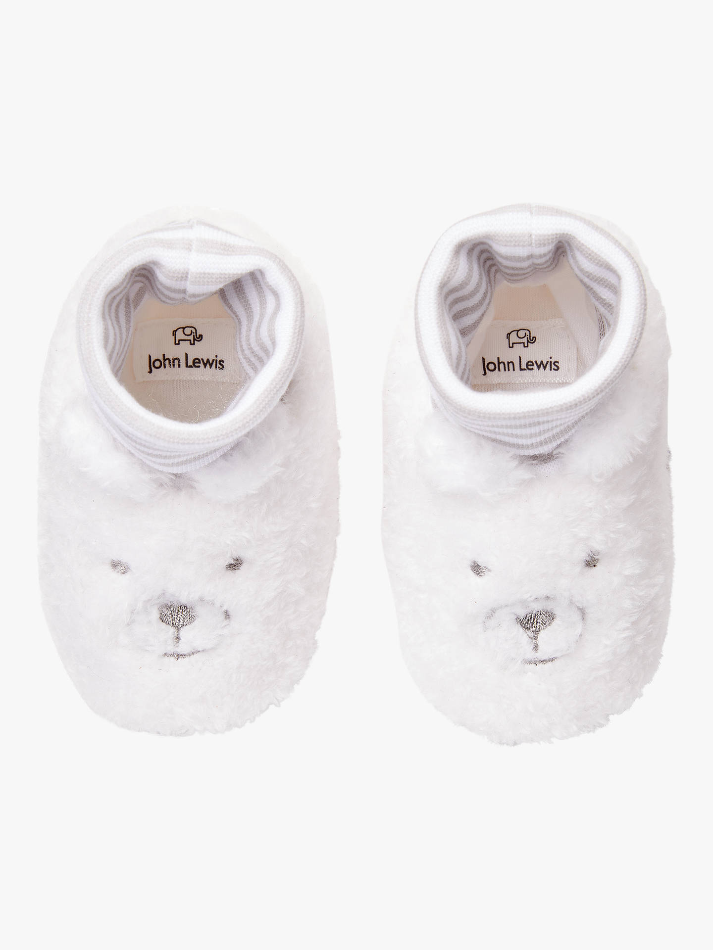 BuyJohn Lewis & Partners Super Socktop Bear Slippers, Grey/White, 0-3 months Online at johnlewis.com