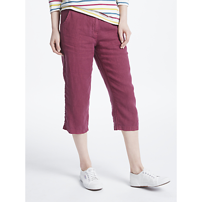 Seasalt Brawn Point Cropped Linen Trousers, Currant