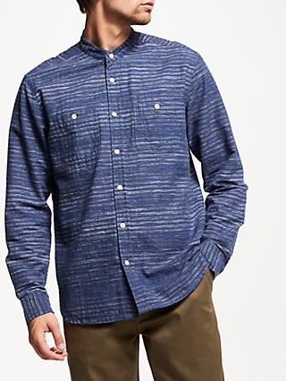 JOHN LEWIS & Co. Textured Slub Stripe Grandad Shirt, Blue