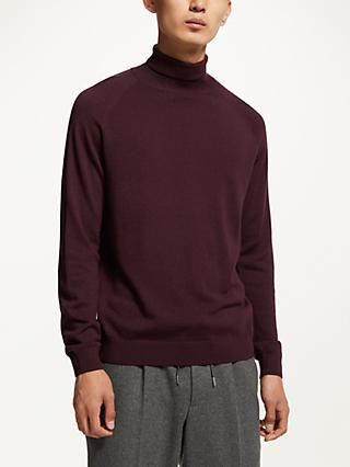 Kin Merino Blend Roll Neck Jumper, Burgundy