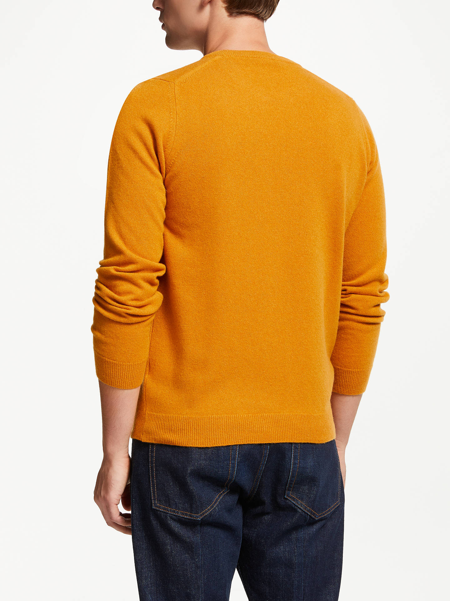 BuyJohn Lewis & Partners Italian Cashmere Crew Neck Jumper, Sunshine Yellow, L Online at johnlewis.com