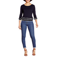 Buy Yumi Ruffle Hem Jumper, Navy Online at johnlewis.com