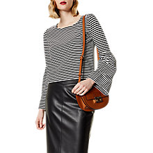 Buy Karen Millen Flare Cuff Top, Black/White Online at johnlewis.com