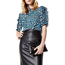 Buy Karen Millen Leopard Print Frill Top, Blue/Multi Online at johnlewis.com