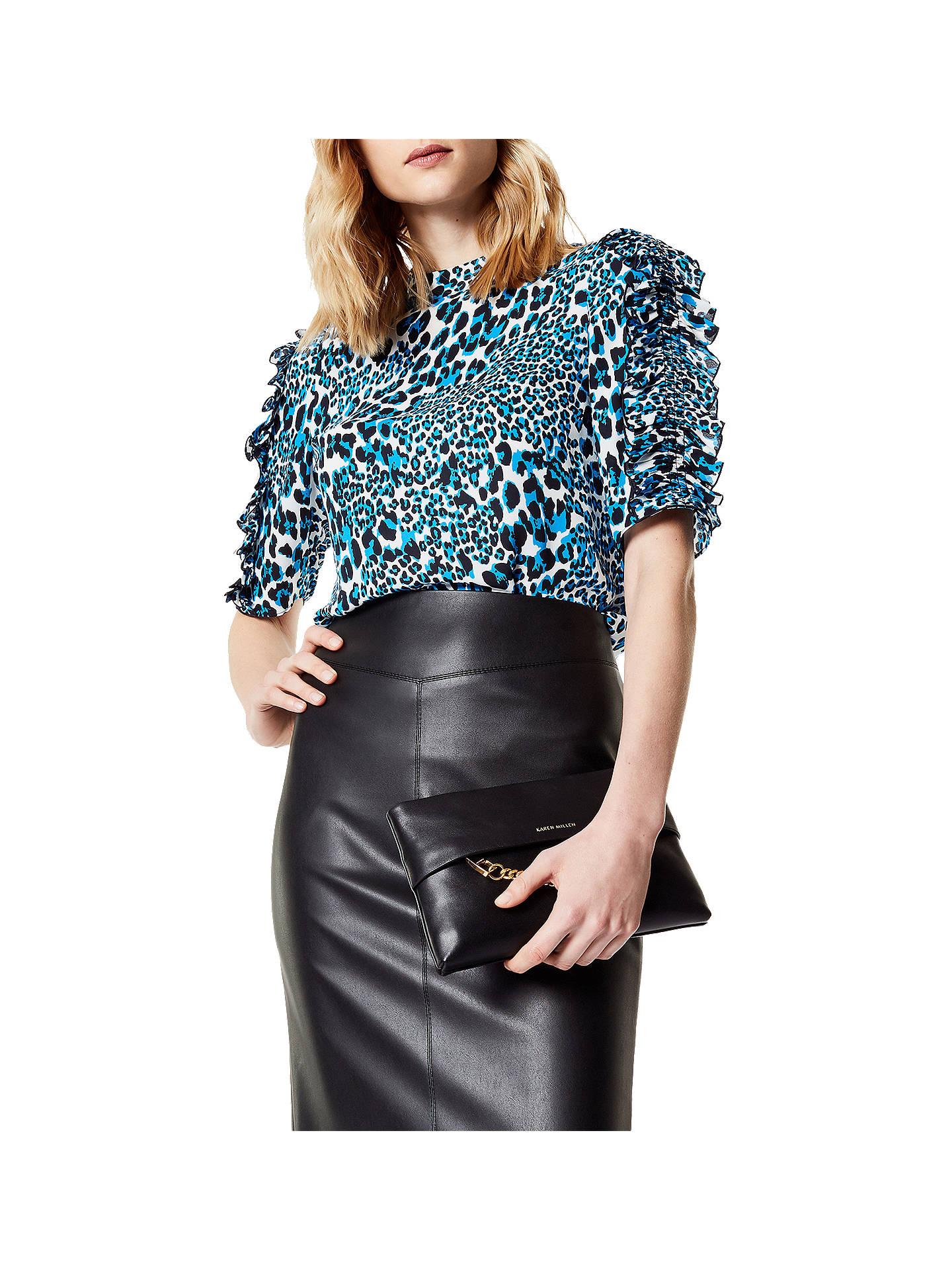4861a52363e Buy Karen Millen Leopard Print Frill Top, Blue/Multi, 6 Online at johnlewis  ...