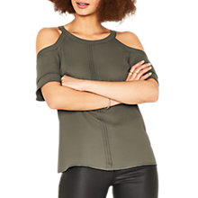 Buy Oasis Frill Cold Shoulder Top, Khaki Online at johnlewis.com