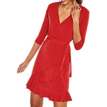 Buy Oasis Spot Ruffle Hem Wrap Dress, Multi/Red Online at johnlewis.com