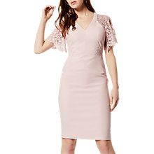 Buy Karen Millen Lace Sleeve Dress, Pink Online at johnlewis.com