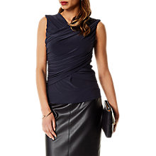 Buy Karen Millen Draped Wrap Top, Navy Online at johnlewis.com
