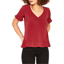 Buy Oasis Spot Ruffle Hem Top, Multi/Red Online at johnlewis.com