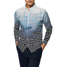 Buy Selected Homme + Onemiguel Long Sleeve Stripe Shirt, Lake Blue Stripes Online at johnlewis.com
