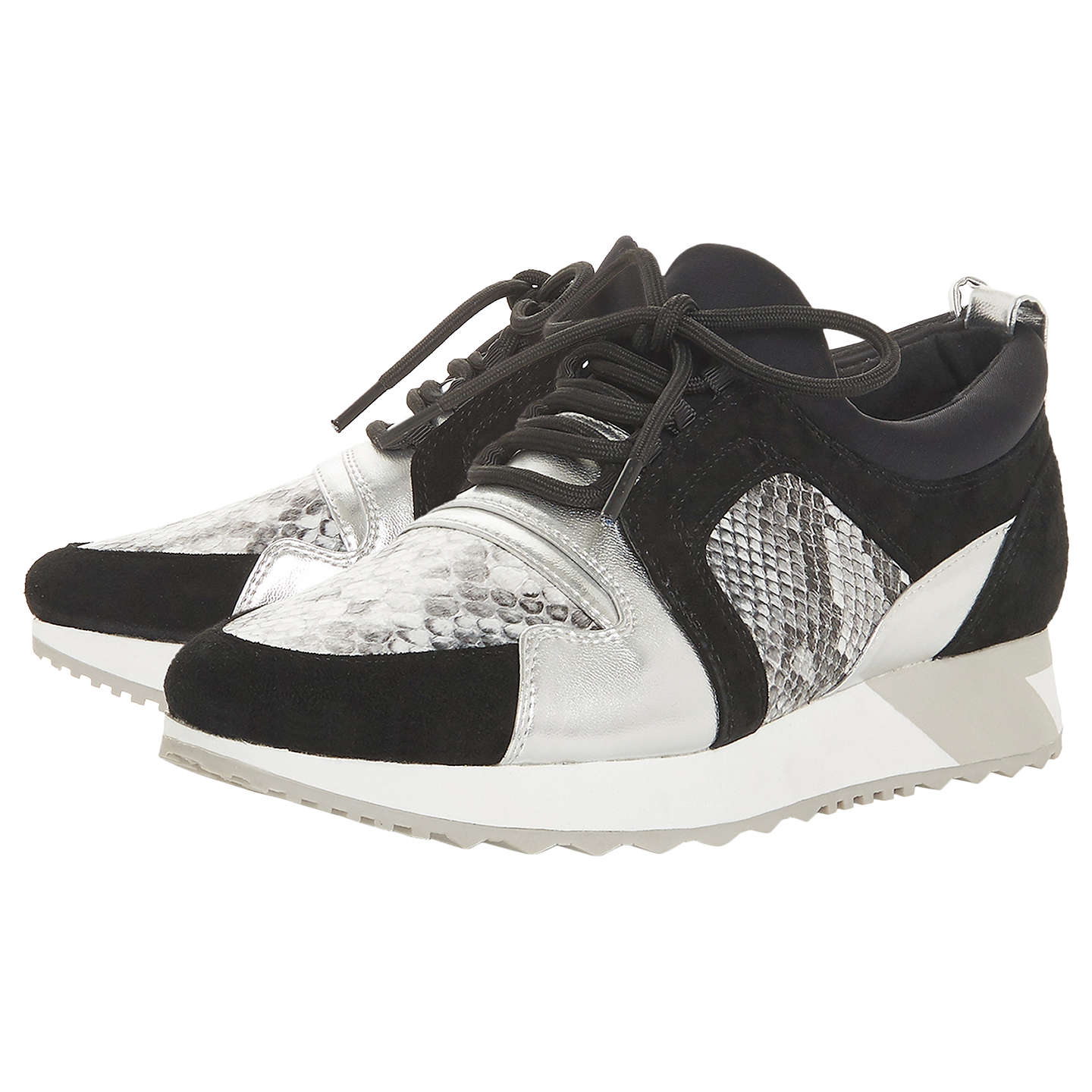Dune Eavie Lace Up Trainers, Pewter