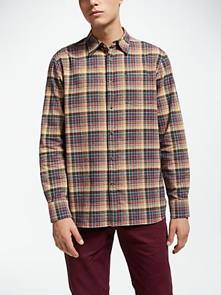 John Lewis & Partners Brushed Melange Large Check Shirt, Brown
