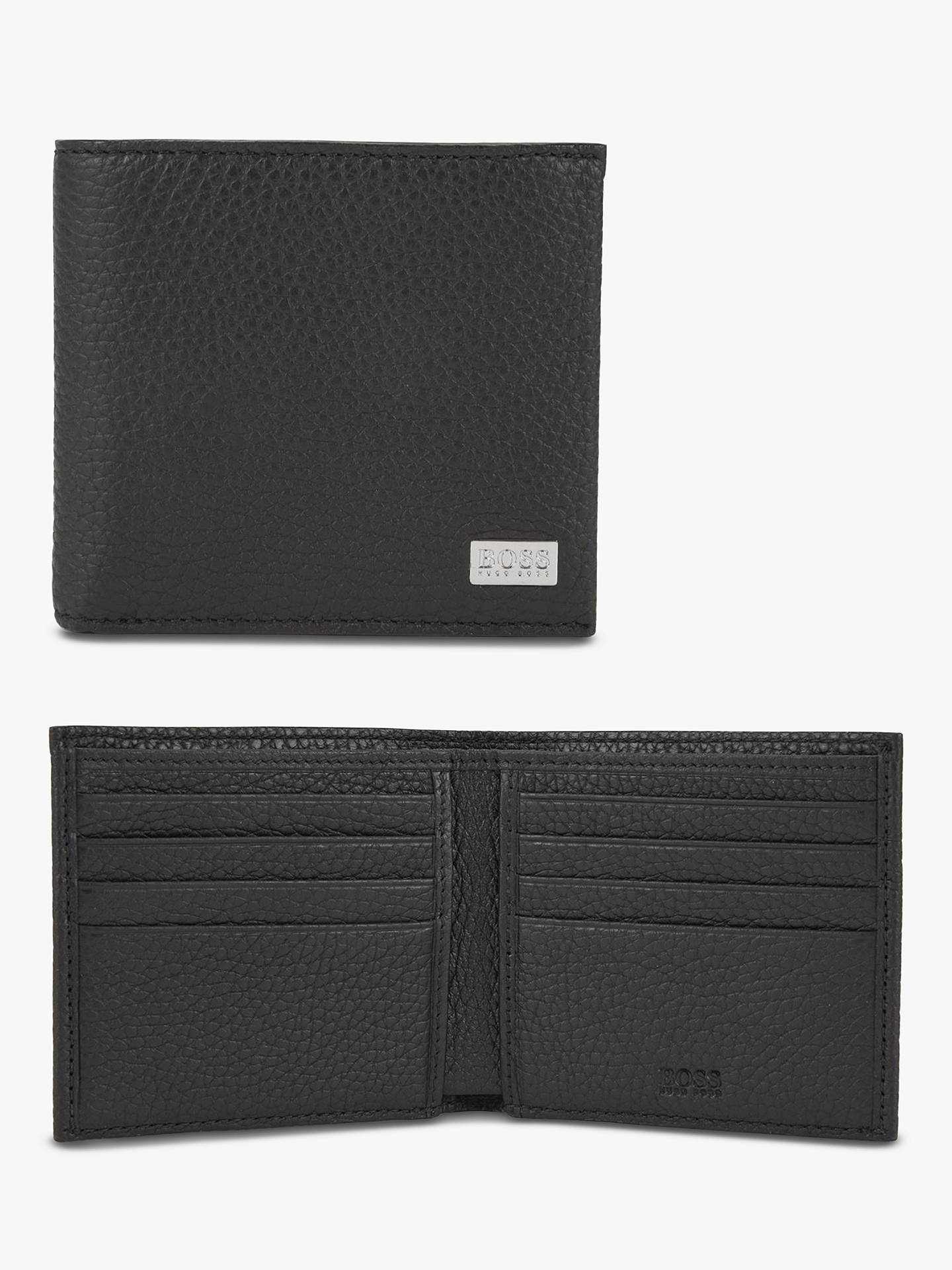 BuyBOSS Crosstown Grained Italian Leather Eight Card Wallet, Black Online at johnlewis.com