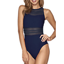 Buy JETS Parallels Sheer Stripe Overlay Swimsuit, Ink Online at johnlewis.com