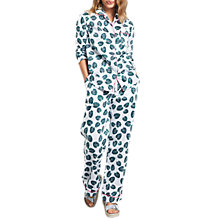 Buy hush Monstera Leaf Piped Cotton Pyjama Set, White/Green Online at johnlewis.com