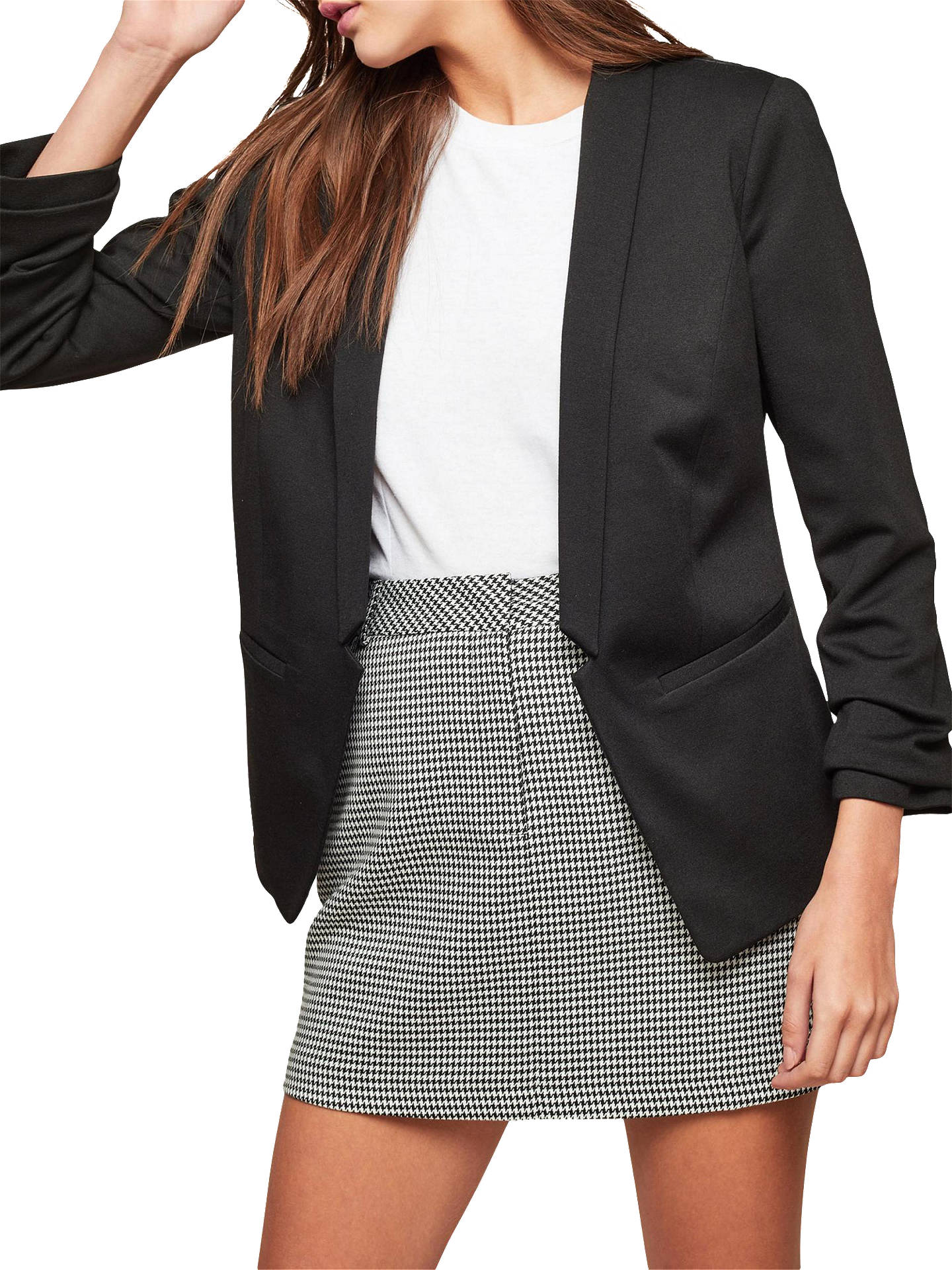 BuyMiss Selfridge Petite Ruched Sleeve Ponte Jacket, Black, 6 Online at johnlewis.com