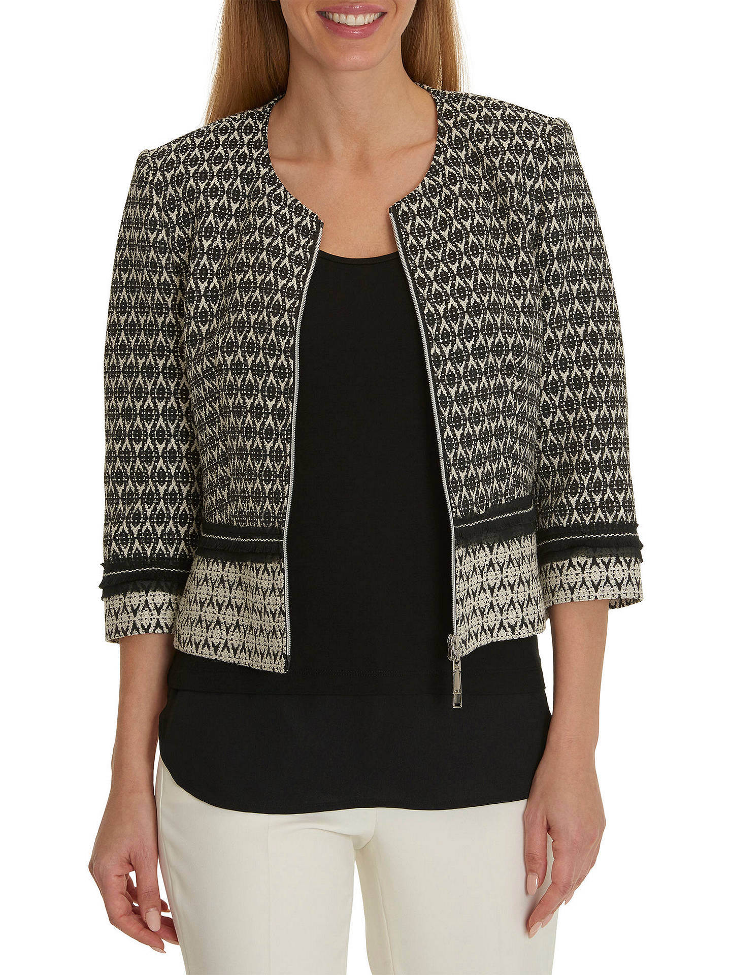 Buy Betty Barclay Tapestry Jacket, Black/Cream, 10 Online at johnlewis.com