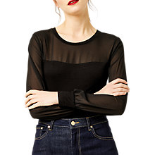 Buy Warehouse Sheer Panel Woven Top Online at johnlewis.com