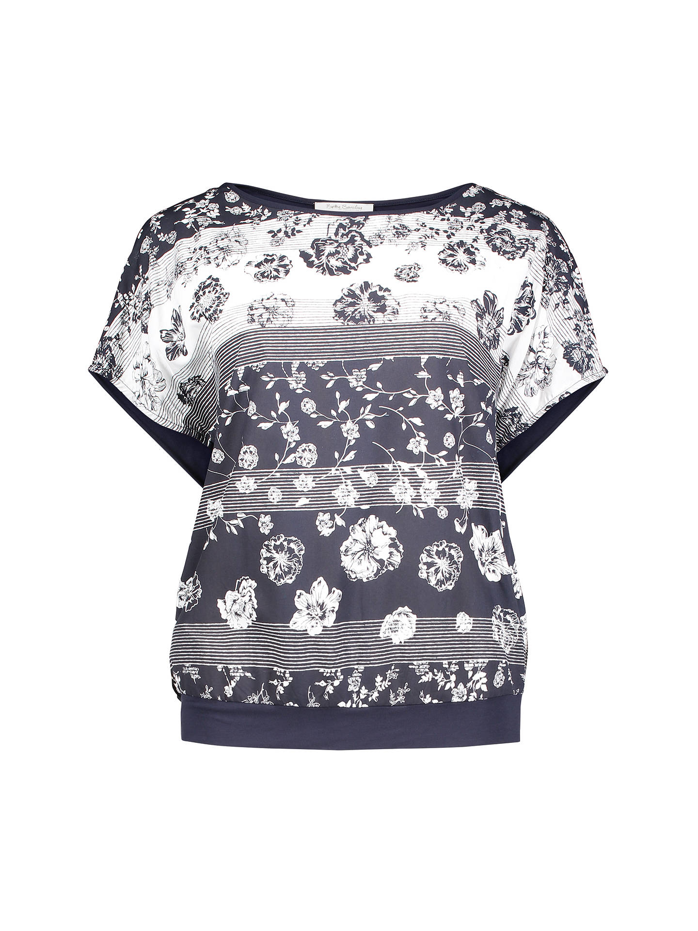 BuyBetty Barclay Graphic Floral Print T-Shirt, Dark Blue/Cream, 10 Online at johnlewis.com