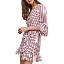 Buy Miss Selfridge Stripe Frill Dress, Red/White Online at johnlewis.com