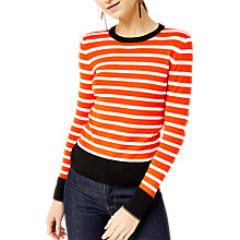 Buy Warehouse Barbican Breton Stripe Jumper, Orange Online at johnlewis.com