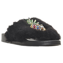 Buy Dune Longbeach Pineapple Embellished Fur Sliders, Black Online at johnlewis.com