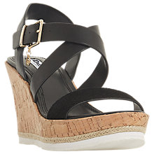 Buy Dune Kyte Cross Strap Wedge Heel Sandals, Black Leather Online at johnlewis.com