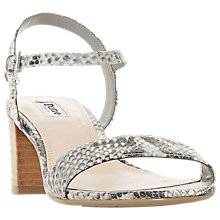 Buy Dune Jiggle Block Heel Reptile Sandals, Grey Online at johnlewis.com