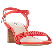 Buy Dune Jiggle Block Heel Sandals, Orange Online at johnlewis.com