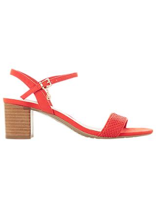 Dune Jiggle Block Heel Sandals, Orange
