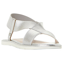 Buy Dune Linke Cross Strap Flat Sandals, Silver Online at johnlewis.com