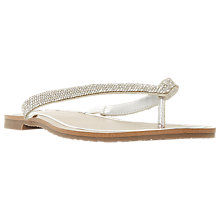 Buy Dune Lou-Lou Embellished Toe Post Sandals, Silver Online at johnlewis.com