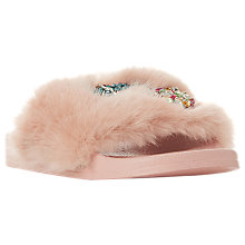 Buy Dune Lido Embellished Fur Sliders, Pink Online at johnlewis.com