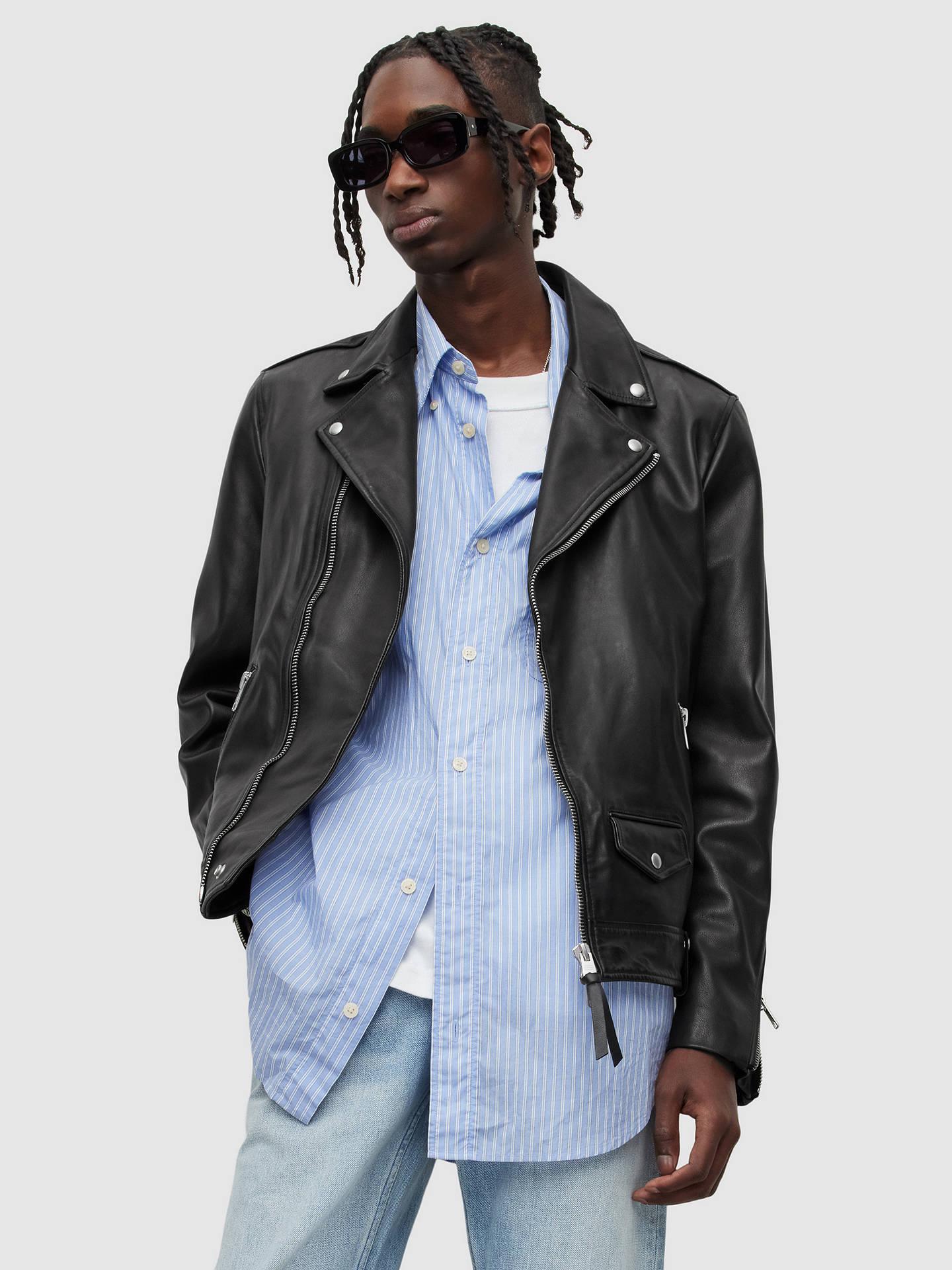 13db954780f AllSaints Milo Leather Biker Jacket at John Lewis   Partners