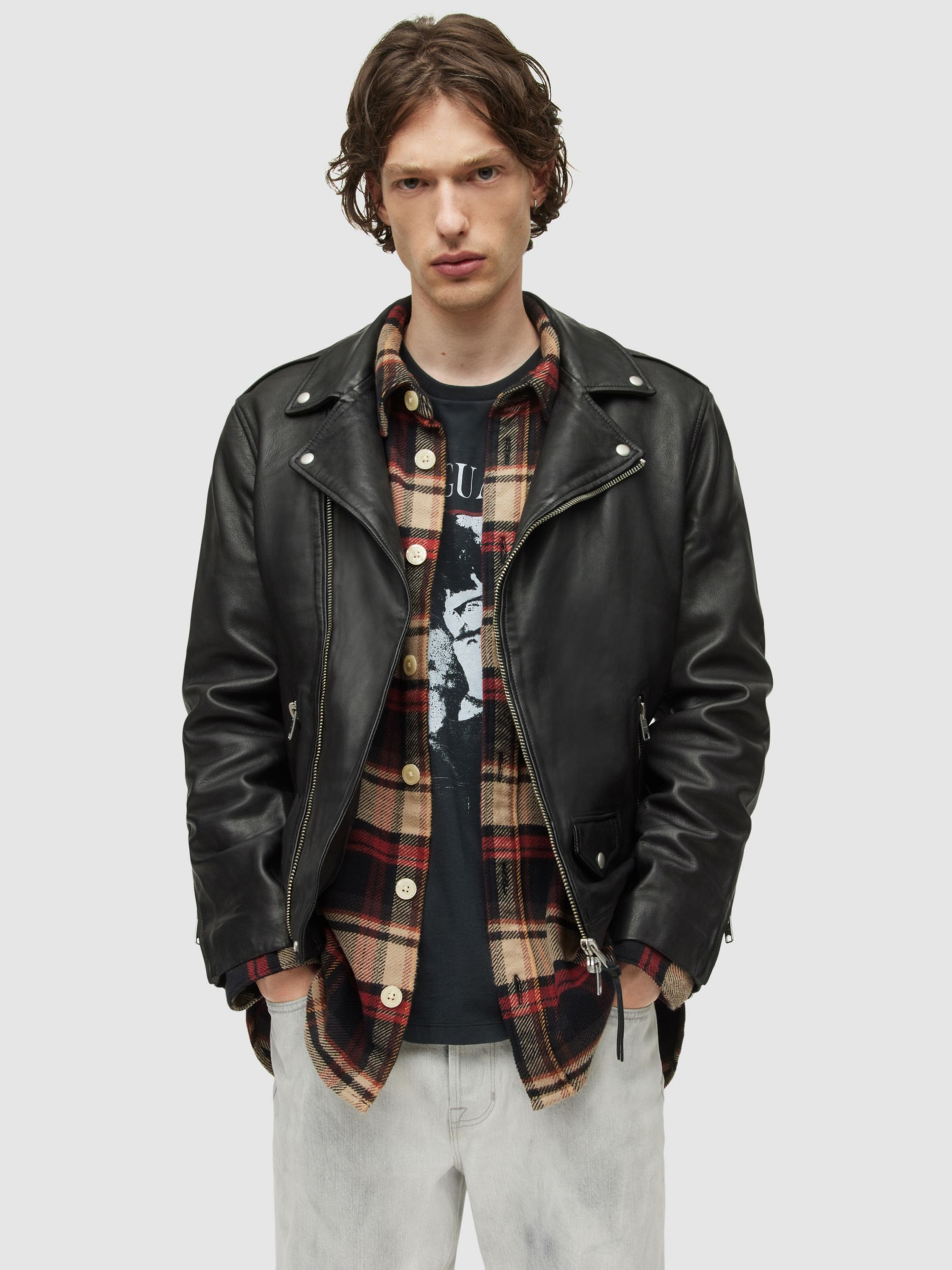 AllSaints AllSaints Milo Leather Biker Jacket, Black